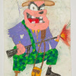 Camilo Restrepo. <em>Paisa de Palo</em>, 2021. Water-soluble wax pastel, ink, tape and saliva on paper 11 3/4 x 8 1/4 inches (29.8 x 21 cm) thumbnail