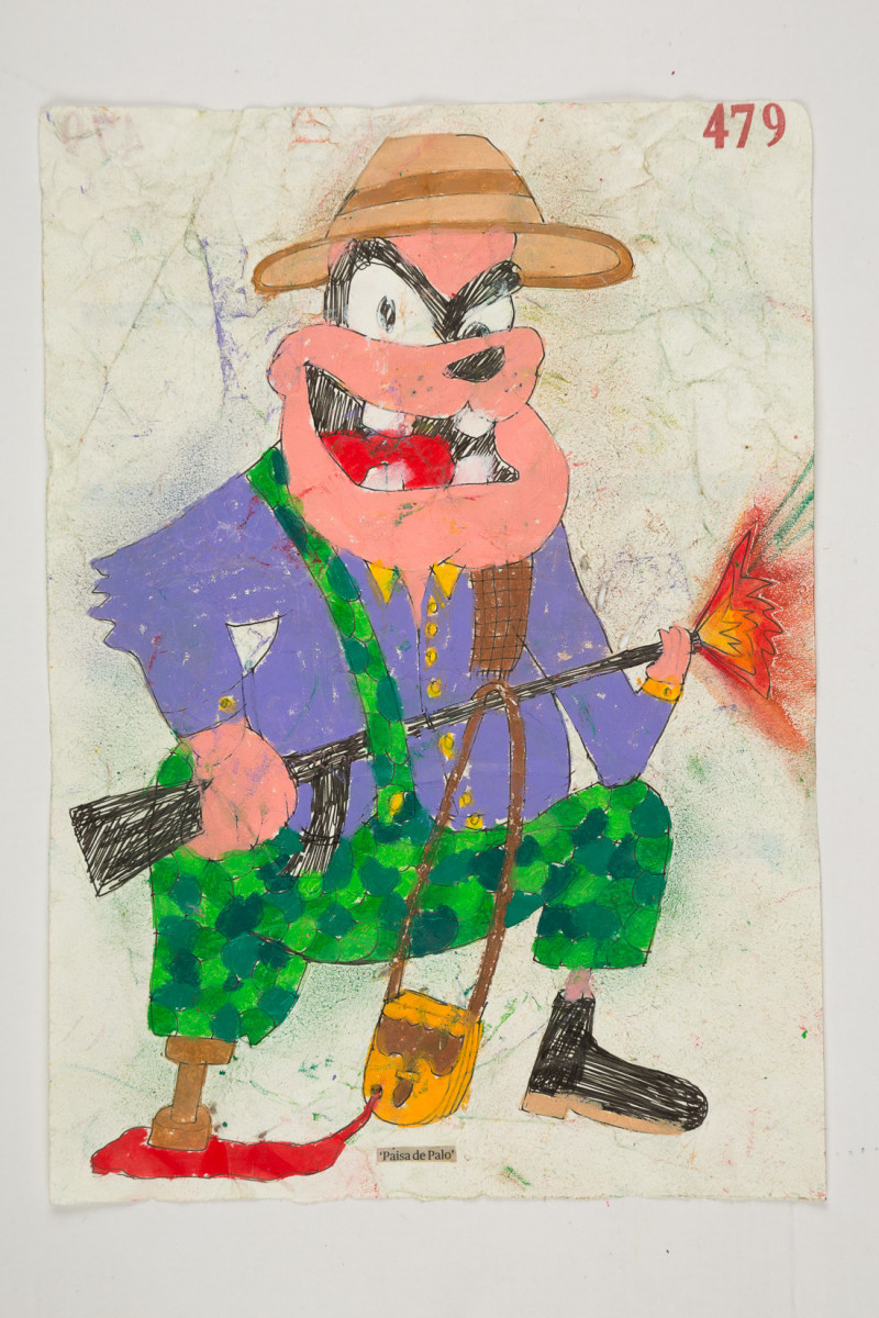 Camilo Restrepo. <em>Paisa de Palo</em>, 2021. Water-soluble wax pastel, ink, tape and saliva on paper 11 3/4 x 8 1/4 inches (29.8 x 21 cm)