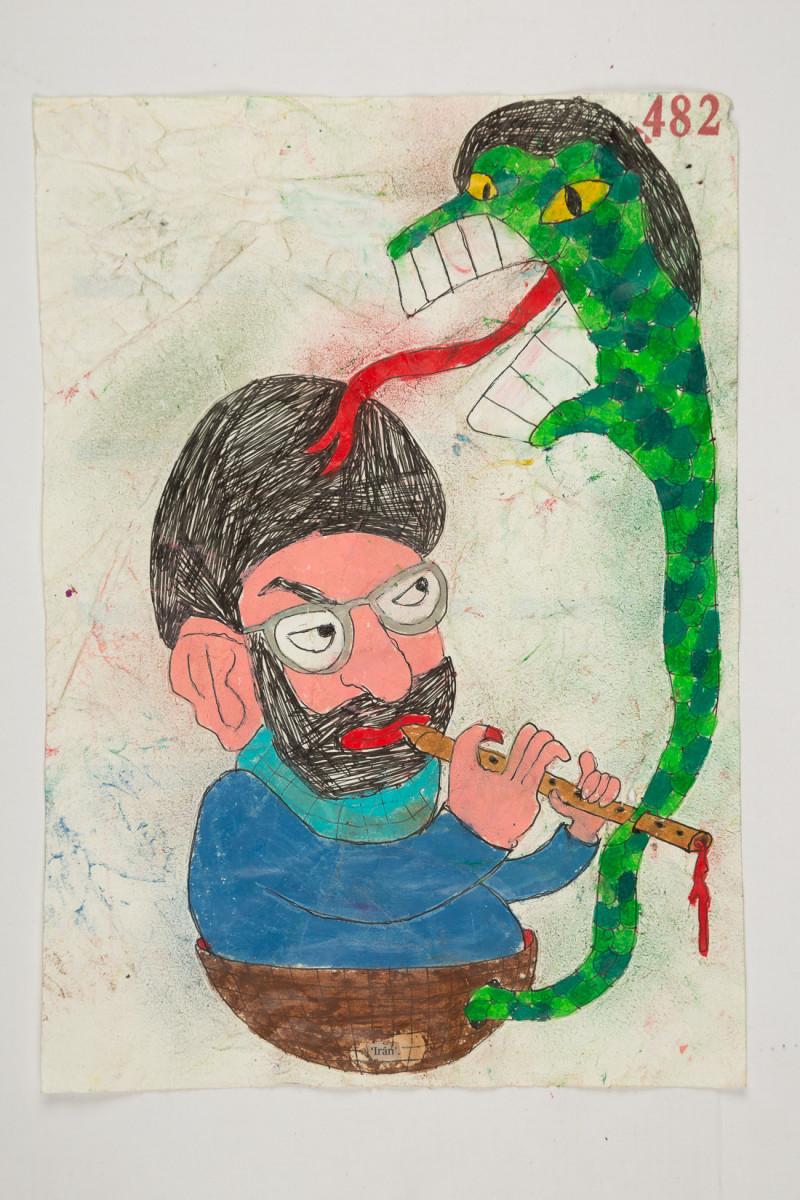 Camilo Restrepo. <em>Iràn</em>, 2021. Water-soluble wax pastel, ink, tape and saliva on paper 11 3/4 x 8 1/4 inches (29.8 x 21 cm)