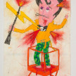 Camilo Restrepo. <em>Peligro</em>, 2021. Water-soluble wax pastel, ink, tape and saliva on paper 11 3/4 x 8 1/4 inches (29.8 x 21 cm) thumbnail