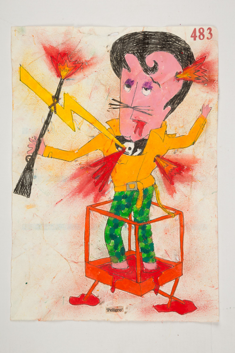 Camilo Restrepo. <em>Peligro</em>, 2021. Water-soluble wax pastel, ink, tape and saliva on paper 11 3/4 x 8 1/4 inches (29.8 x 21 cm)