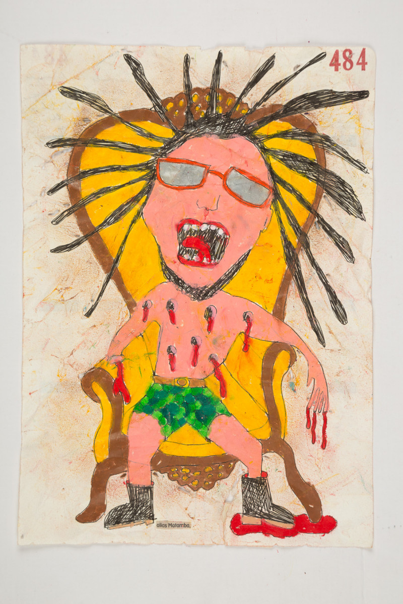 Camilo Restrepo. <em>Matamba</em>, 2021. Water-soluble wax pastel, ink, tape and saliva on paper 11 3/4 x 8 1/4 inches (29.8 x 21 cm)