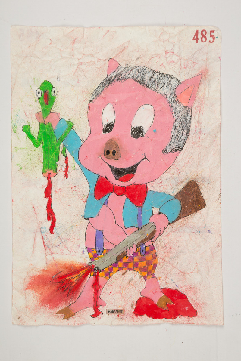 Camilo Restrepo. <em>Marranìn</em>, 2021. Water-soluble wax pastel, ink, tape and saliva on paper 11 3/4 x 8 1/4 inches (29.8 x 21 cm)