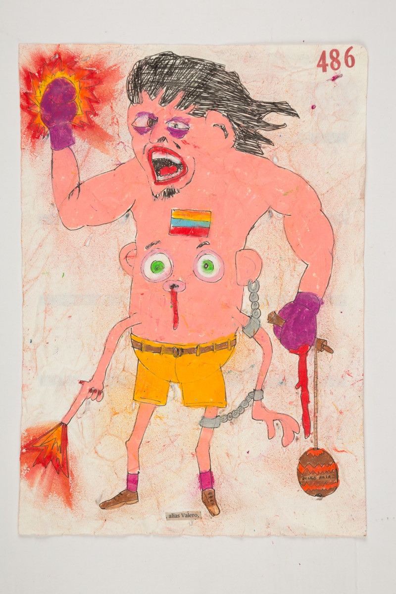 Camilo Restrepo. <em>Valero</em>, 2021. Water-soluble wax pastel, ink, tape and saliva on paper 11 3/4 x 8 1/4 inches (29.8 x 21 cm)