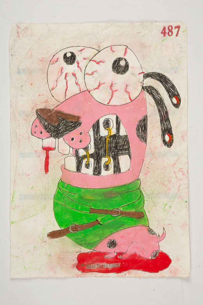 Camilo Restrepo. <em>Perra Loca</em>, 2021. Water-soluble wax pastel, ink, tape and saliva on paper 11 3/4 x 8 1/4 inches (29.8 x 21 cm)