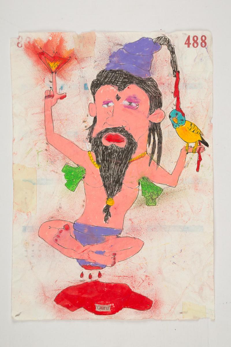 Camilo Restrepo. <em>Guru</em>, 2021. Water-soluble wax pastel, ink, tape and saliva on paper 11 3/4 x 8 1/4 inches (29.8 x 21 cm)