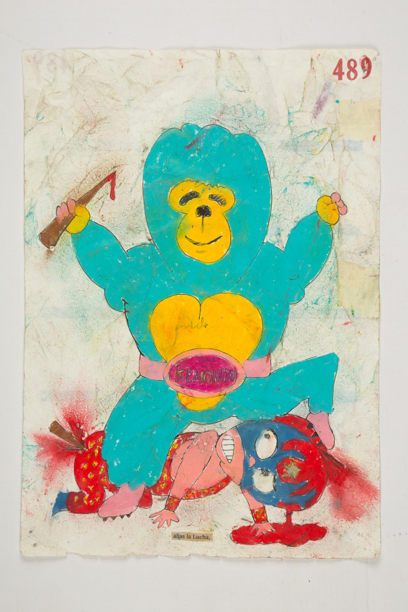Camilo Restrepo. <em>Lucha</em>, 2021. Water-soluble wax pastel, ink, tape and saliva on paper 11 3/4 x 8 1/4 inches (29.8 x 21 cm)