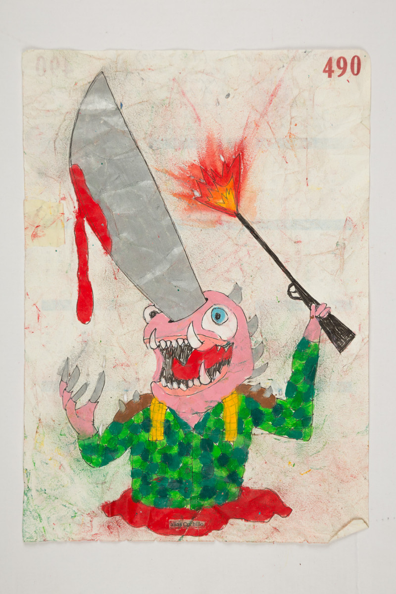 Camilo Restrepo. <em>Cuchillo</em>, 2021. Water-soluble wax pastel, ink, tape and saliva on paper 11 3/4 x 8 1/4 inches (29.8 x 21 cm)