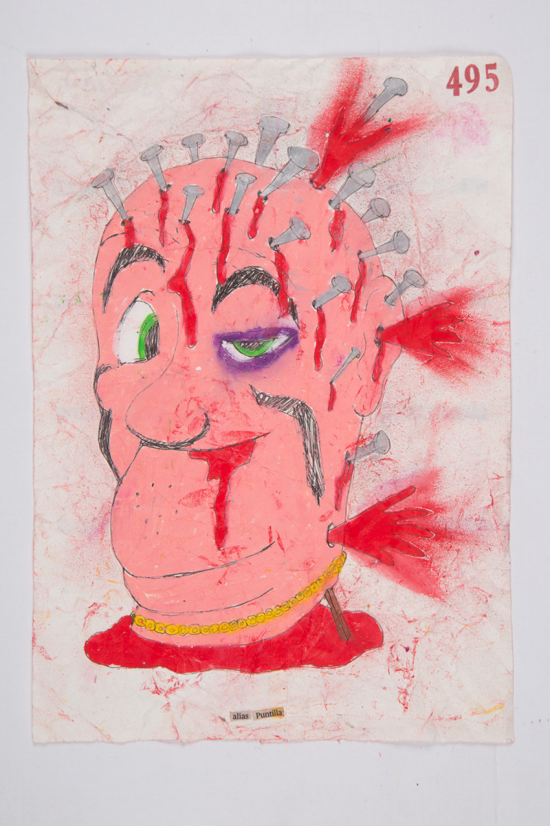 Camilo Restrepo. <em>Puntilla</em>, 2021. Water-soluble wax pastel, ink, tape and saliva on paper 11 3/4 x 8 1/4 inches (29.8 x 21 cm)