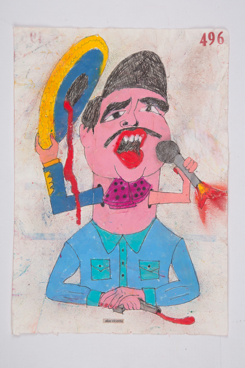 Camilo Restrepo. <em>Vicente</em>, 2021. Water-soluble wax pastel, ink, tape and saliva on paper 11 3/4 x 8 1/4 inches (29.8 x 21 cm)