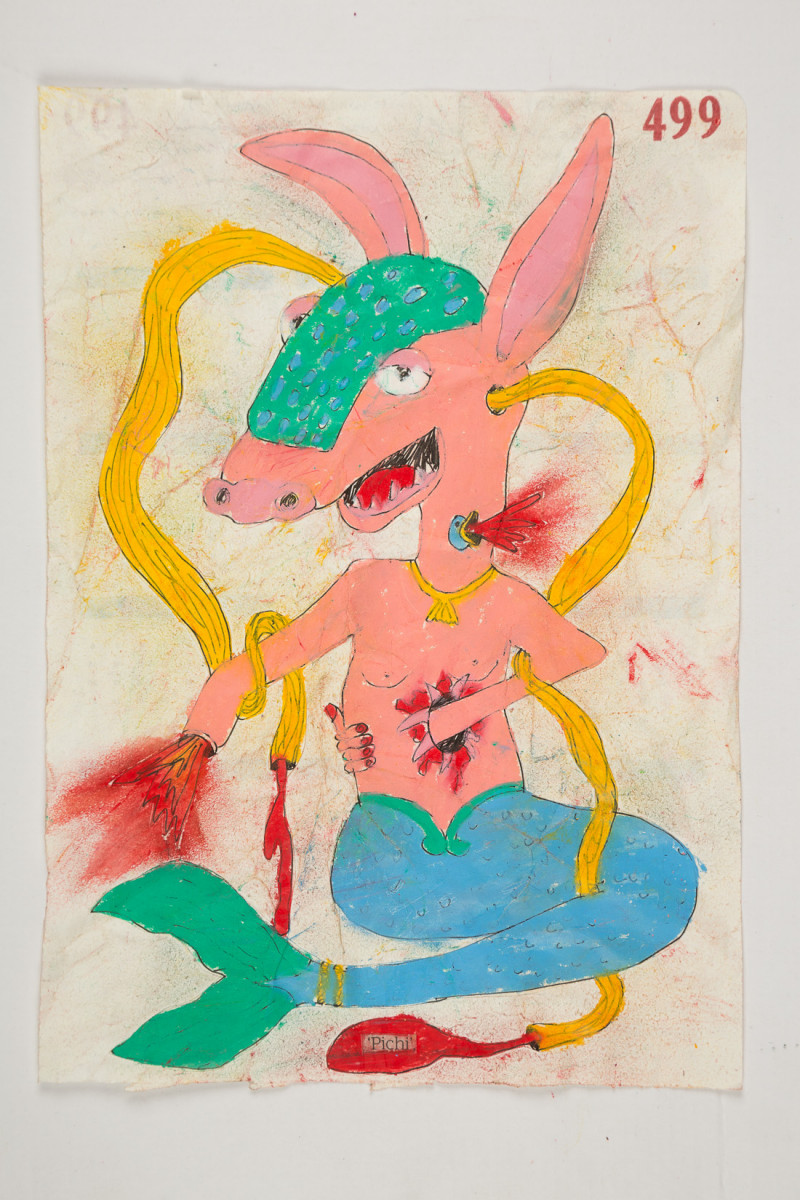 Camilo Restrepo. <em>Pichi</em>, 2021. Water-soluble wax pastel, ink, tape and saliva on paper 11 3/4 x 8 1/4 inches (29.8 x 21 cm)