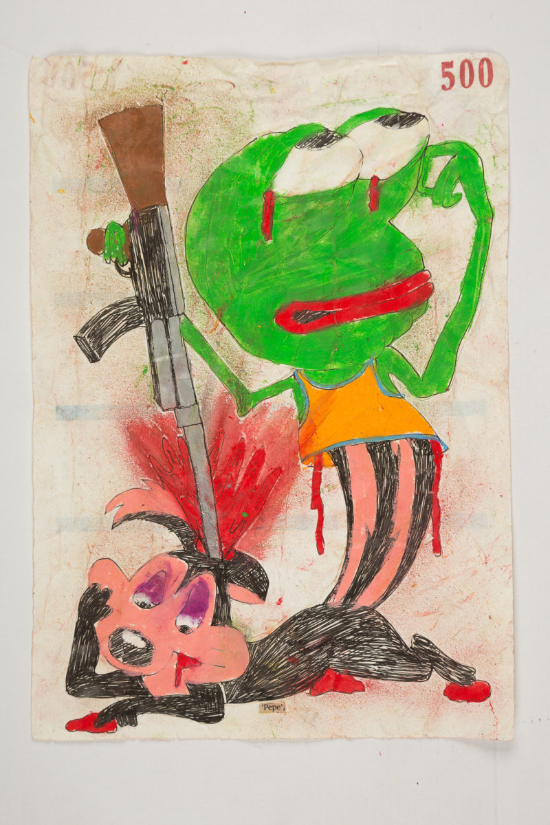 Camilo Restrepo. <em>Pepe</em>, 2021. Water-soluble wax pastel, ink, tape and saliva on paper 11 3/4 x 8 1/4 inches (29.8 x 21 cm)