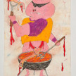 Camilo Restrepo. <em>Tocineta</em>, 2021. Water-soluble wax pastel, ink, tape and saliva on paper 11 3/4 x 8 1/4 inches (29.8 x 21 cm) thumbnail