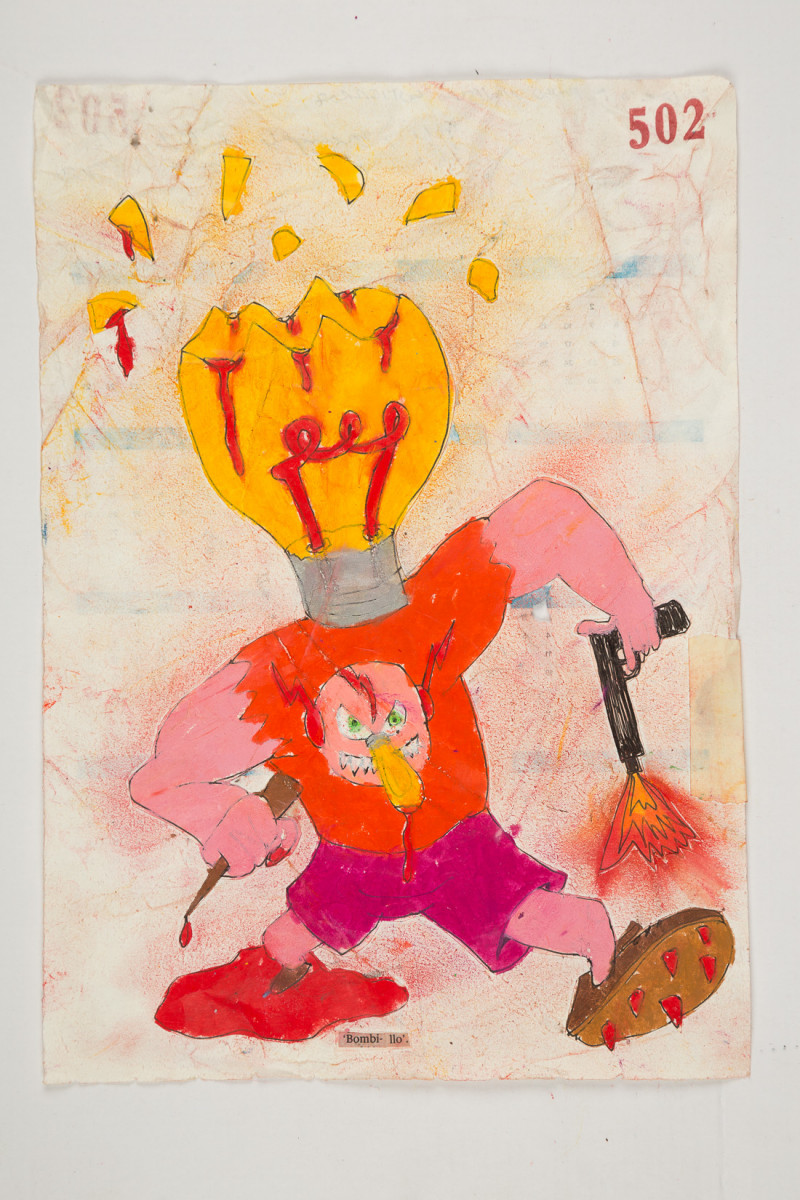 Camilo Restrepo. <em>Bombillo</em>, 2021. Water-soluble wax pastel, ink, tape and saliva on paper 11 3/4 x 8 1/4 inches (29.8 x 21 cm)