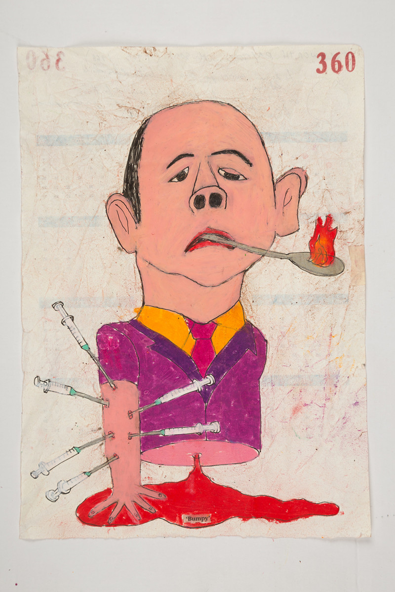 Camilo Restrepo. <em>Bumpy</em>, 2021. Water-soluble wax pastel, ink and saliva on paper, 11 3/4 x 8 1/4 inches (29.8 x 21 cm)