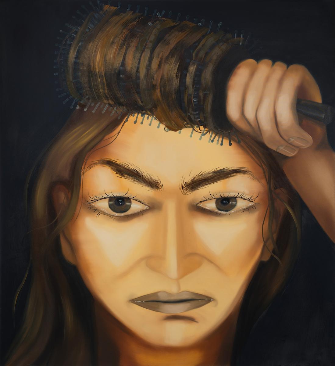 Karolina Jabłońska. <em>combing hair II</em>, 2021. Oil on canvas, 72 7/8 x 63 inches (185.1 x 160 cm)