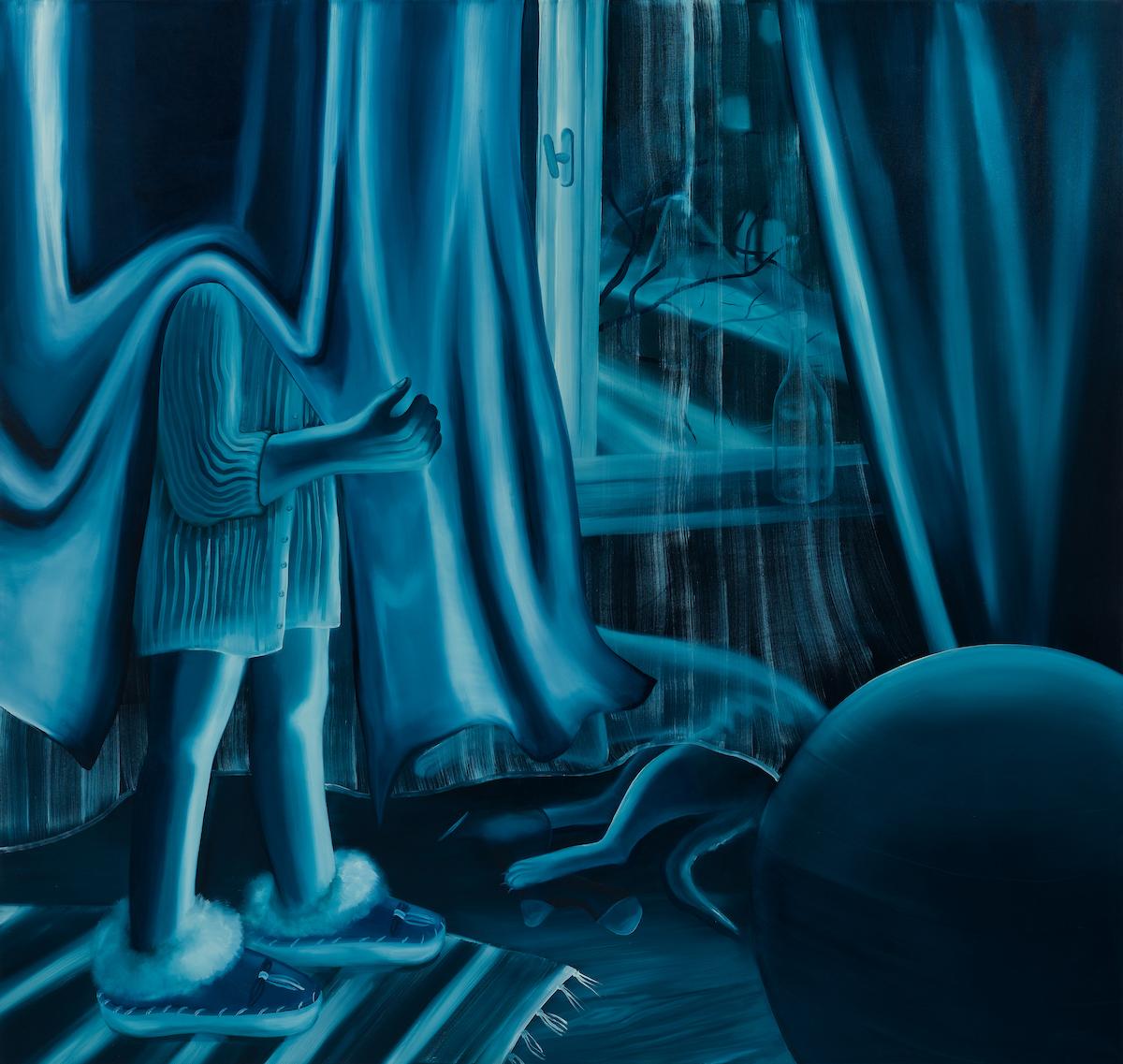 Karolina Jabłońska.<em>Looking out the Window (blue)</em>, 2020. Oil on canvas, 70 7/8 x 74 7/8 inches (180 x 190.2 cm)