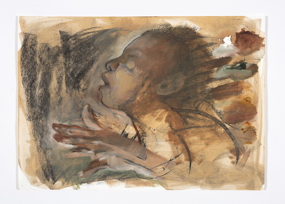 Auriea Harvey. <em>Echo (preparatory sketch)</em>, 2018. Charcoal and oil on paper, 16 1/2 x 11 7/8 inches (41.9 x 30.2 cm)