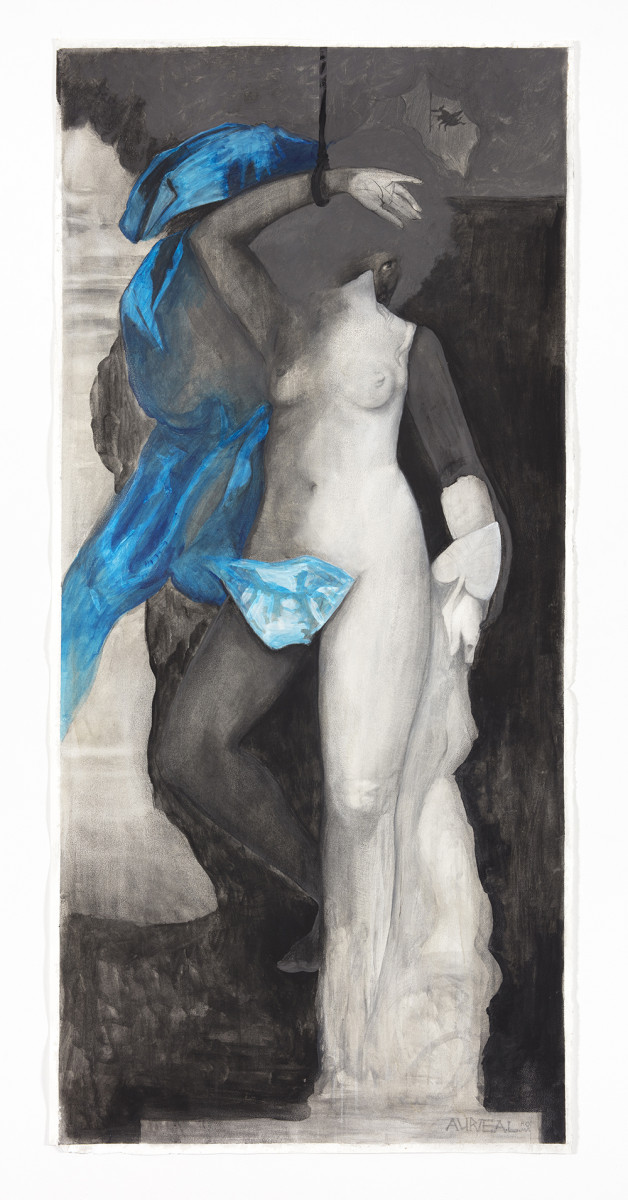 Auriea Harvey. <em>Andromeda</em>, 2021. Graphite, charcoal, acrylic paint, ink and gouache on paper, 65 1/4 x 30 inches  (165.7 x 76.2 cm)