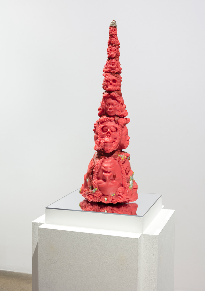 Auriea Harvey. <em>The Mystery v5 (tower)</em>, 2021. Resin, epoxy clay, metal rods and silver, 18 x 6 x 5 1/8 inches (45.7 x 15.2 x 13 cm)