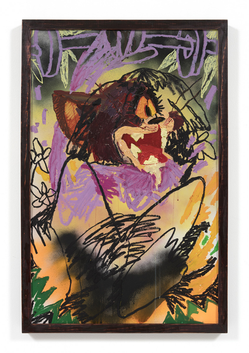 Bianca Fields. <em>Rejected Rep</em>, 2021. Acrylic, oil and spray paint on yupo paper mounted on canvas with artist frame, 40 x 26 inches (101.6 x 66 cm)
