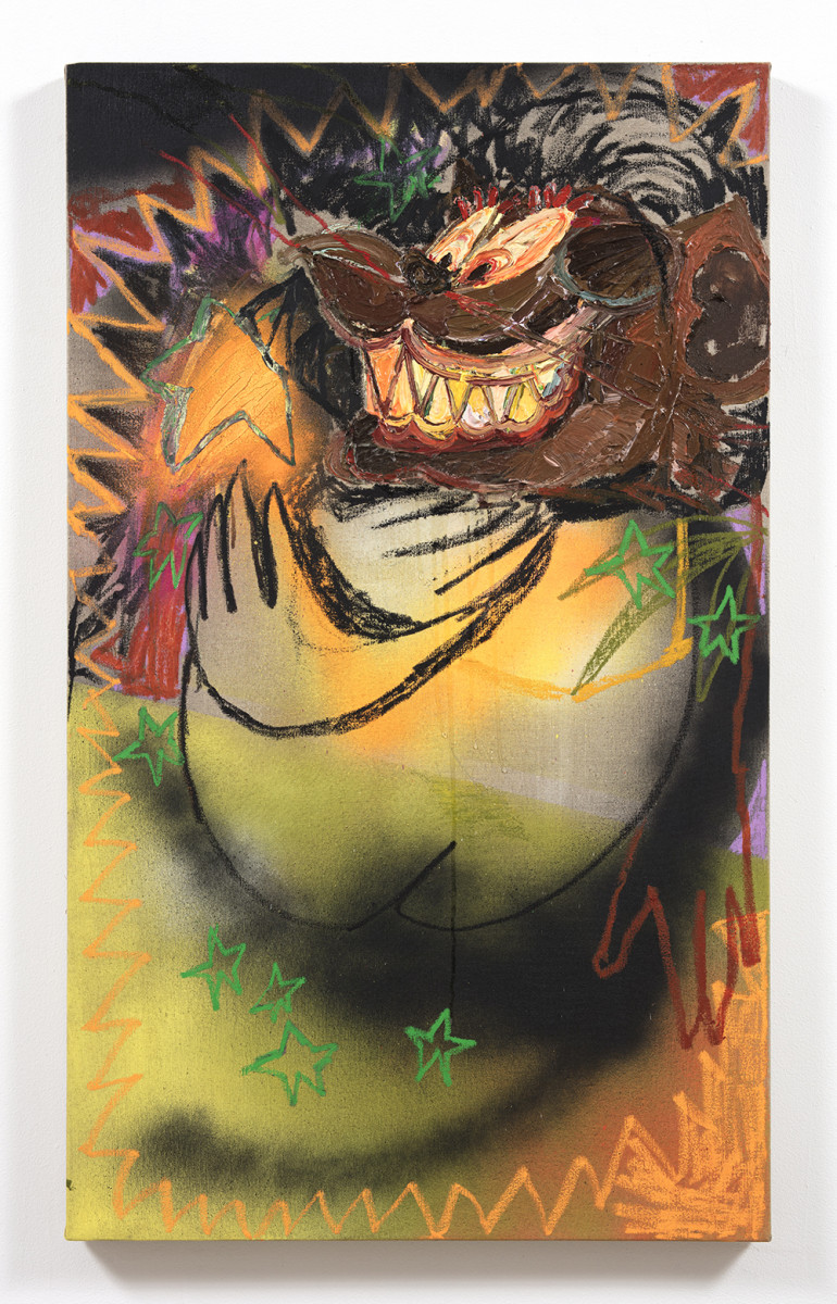 Bianca Fields. <em>Sister's Trick</em>, 2021. Acrylic, oil and spray paint on linen, 50 x 30 inches (127 x 76.2 cm)