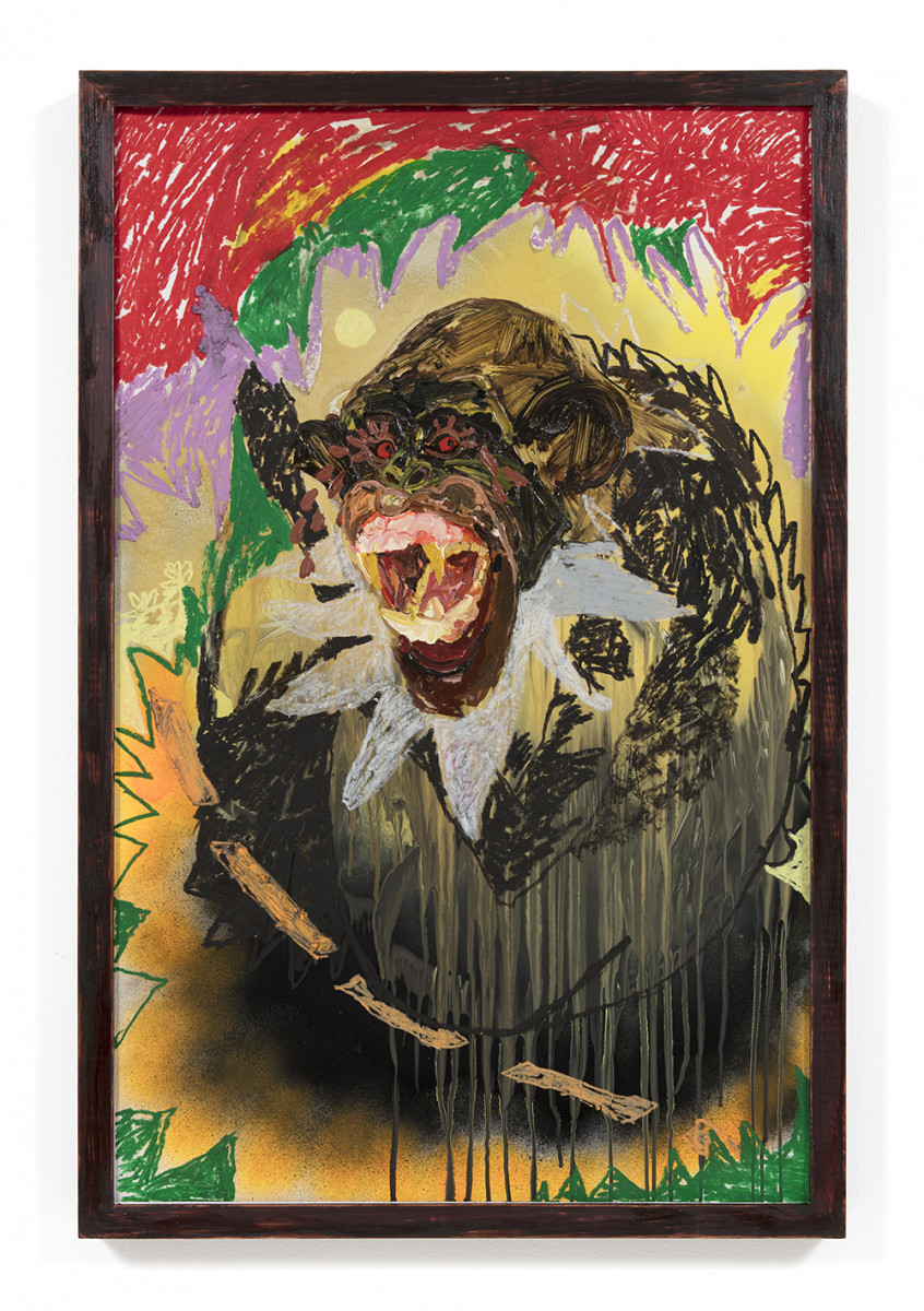 Bianca Fields. <em>Smeary Eyed</em>, 2021. Acrylic, oil and spray paint on yupo paper mounted on canvas with artist frame, 40 x 26 inches (101.6 x 66 cm)