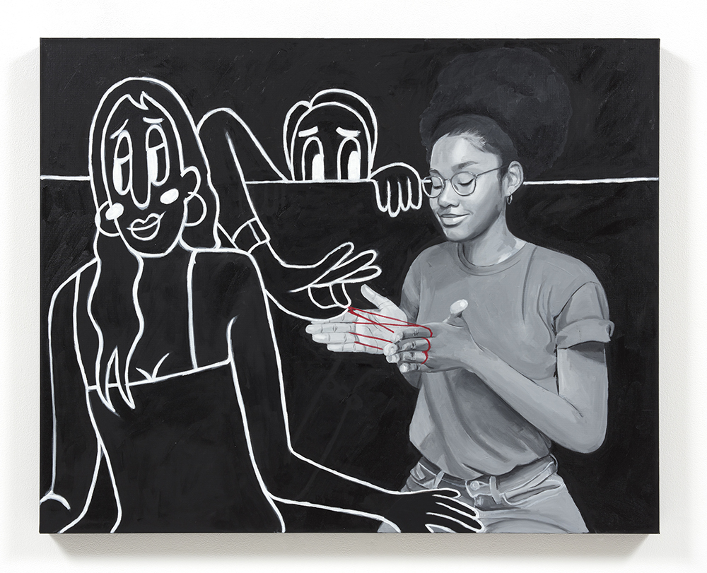 Brittany Tucker. <em>Party Scene (Cat's Cradle)</em>, 2021. Oil on canvas, 31 1/2 x 39 3/8 inches (80 x 100 cm)