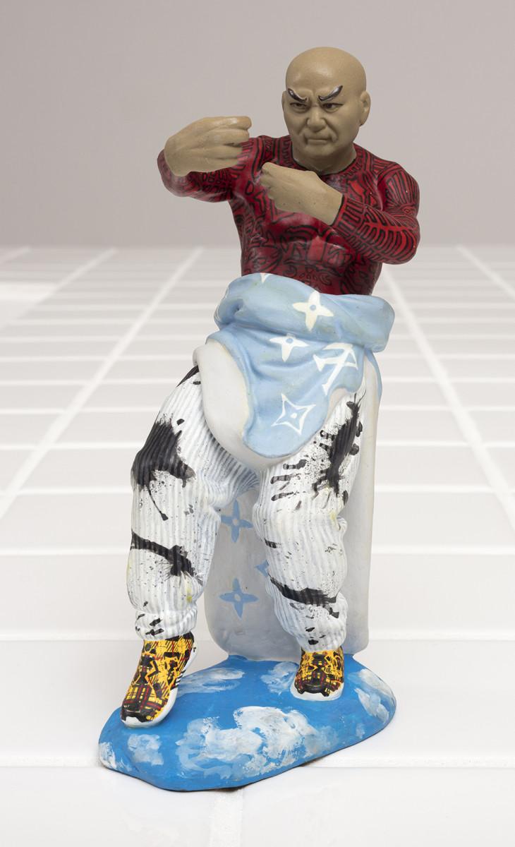 Charlie Mai. <em>'What a freak'</em>, 2021. Paint on ceramic, 7 3/4 x 3 3/4 x 2 inches (19.7 x 9.5 x 5.1 cm)