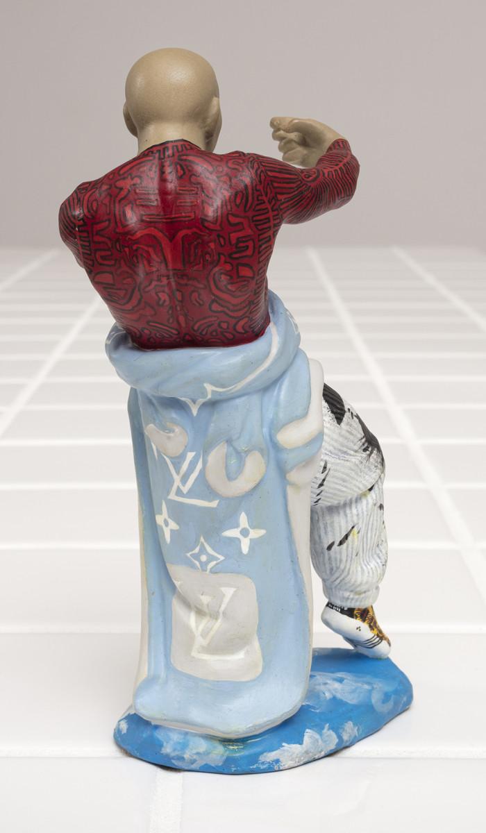 Charlie Mai. <em>'What a freak'</em>, 2021. Paint on ceramic, 7 3/4 x 3 3/4 x 2 inches (19.7 x 9.5 x 5.1 cm) Detail