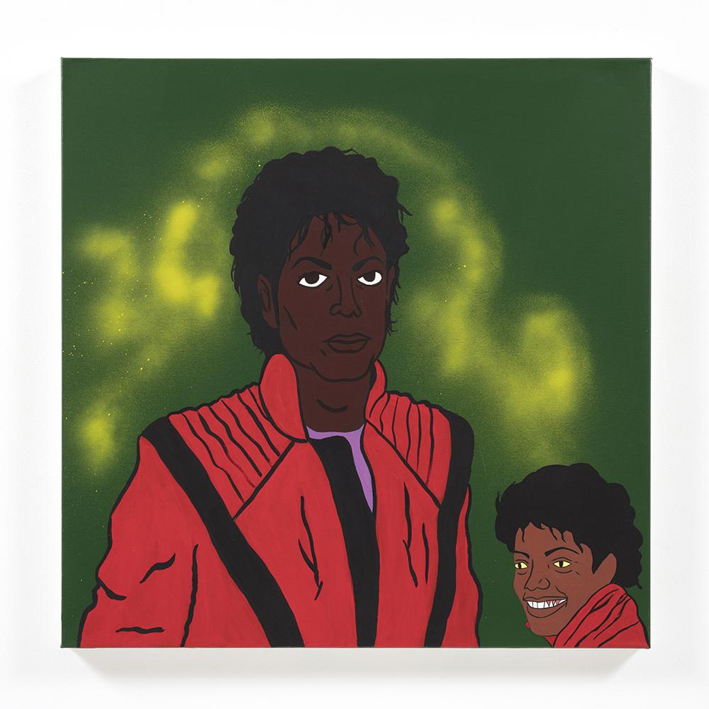 David Leggett. <em>Many mirrors</em>, 2021. Acrylic, spray paint, collage and felt on canvas, 30 x 30 inches (76.2 x 76.2 cm)