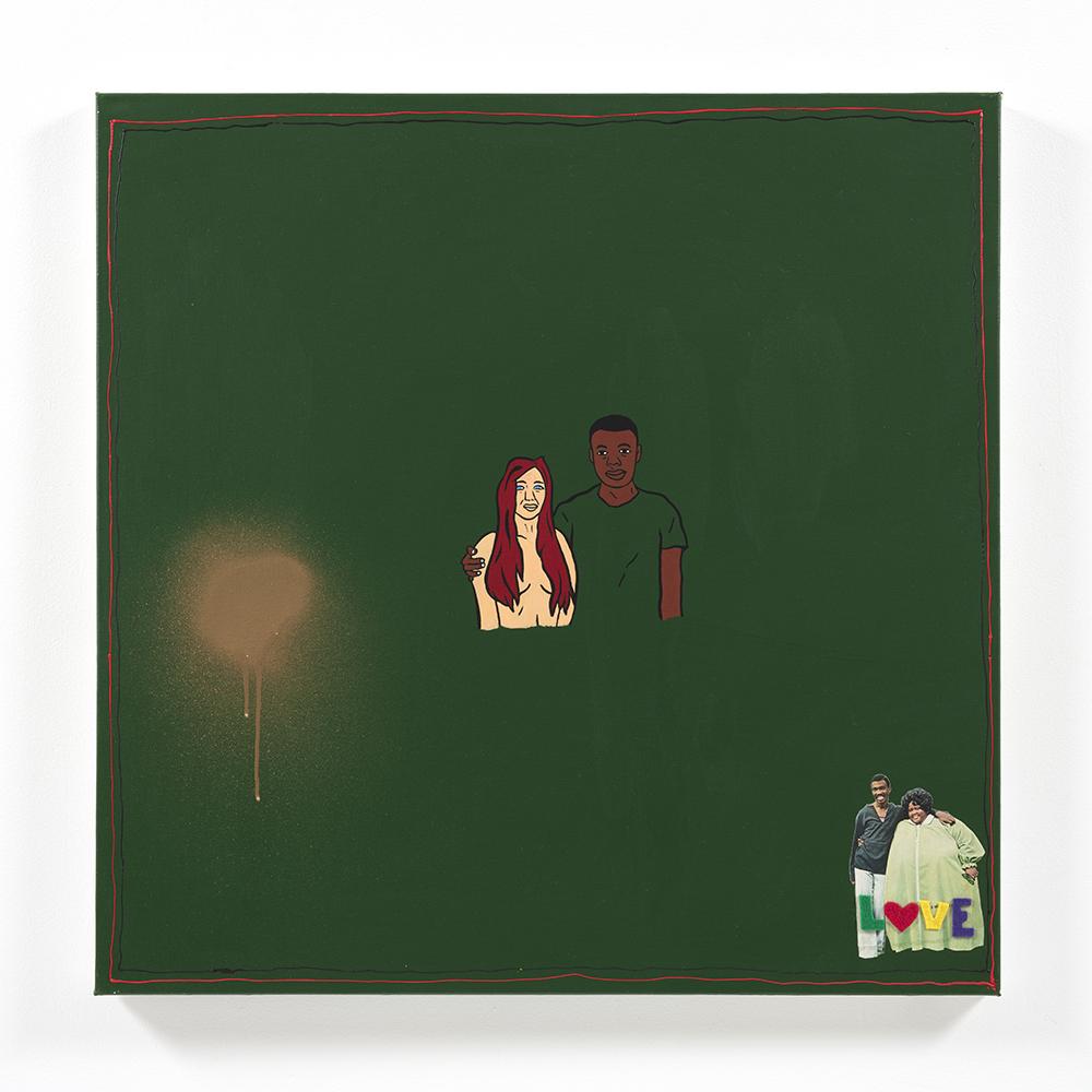 David Leggett. <em>College</em>, 2021. Acrylic, spray paint, collage and felt on canvas, 30 x 30 inches (76.2 x 76.2 cm)