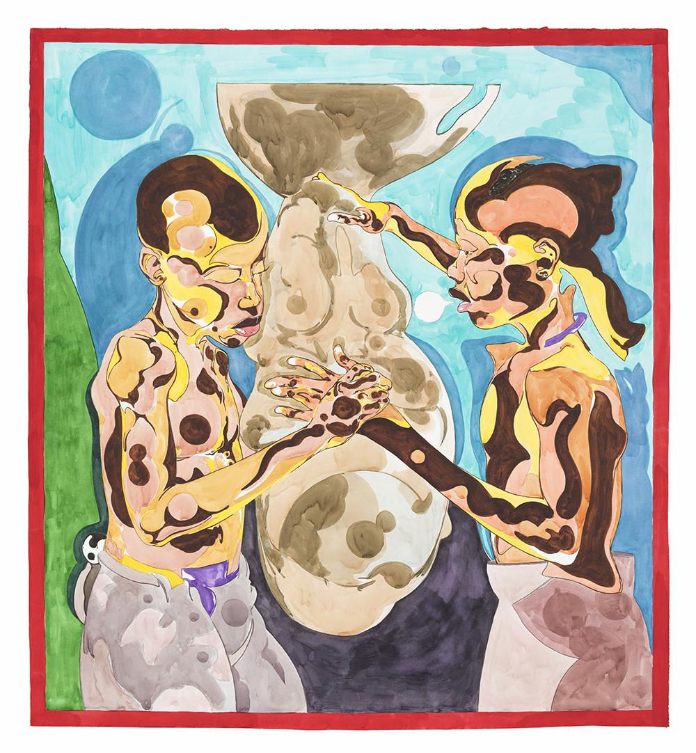 Richard Ayodeji Ikhide.<em>Mother Vessel</em>, 2021. Watercolor on paper, 56 x 50 inches (142.2 x 127 cm)
