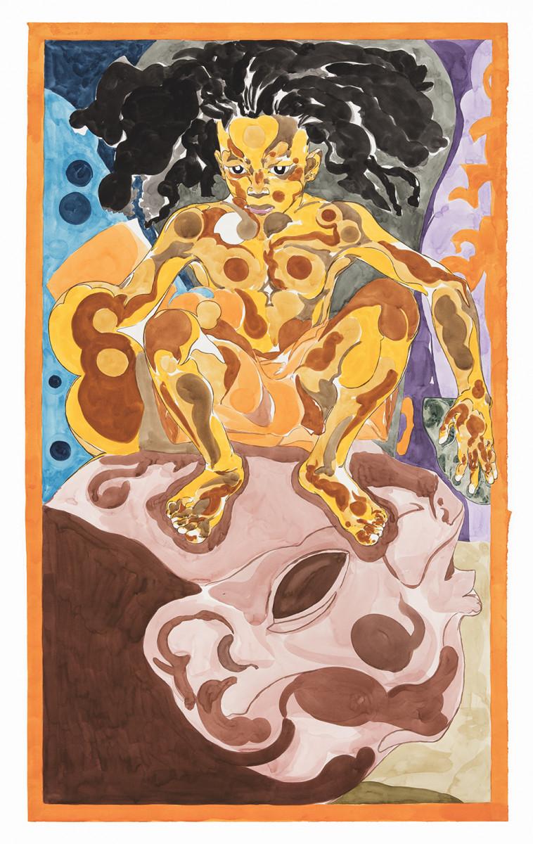 Richard Ayodeji Ikhide. <em>Yout Juice</em>, 2021. Watercolor on paper, 59 1/4 x 35 7/8 inches (150.5 x 91.1 cm)