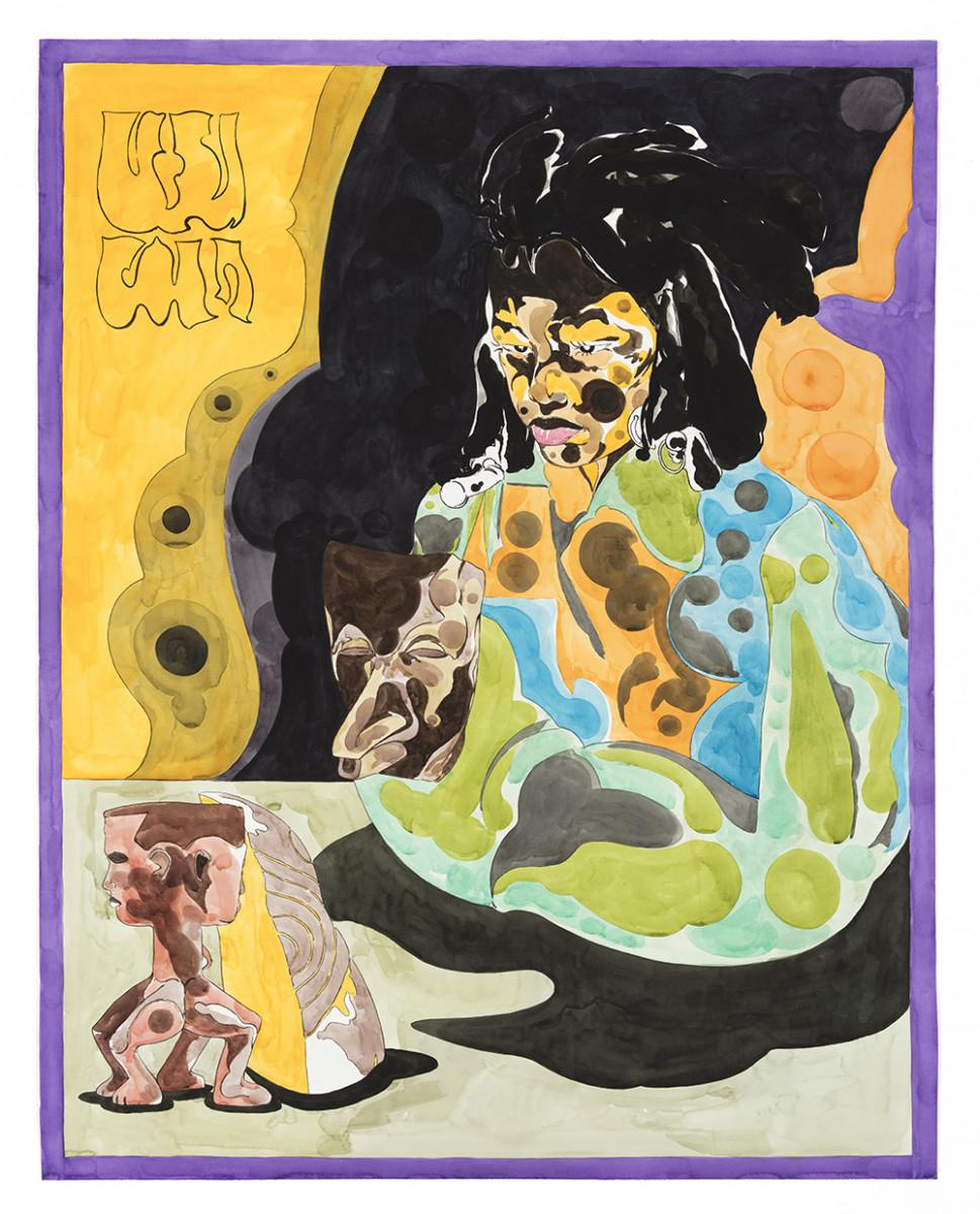 Richard Ayodeji Ikhide. <em>Anima Projection</em>, 2021. Watercolor on paper, 59 1/8 x 46 1/8 inches (150.2 x 117.2 cm)