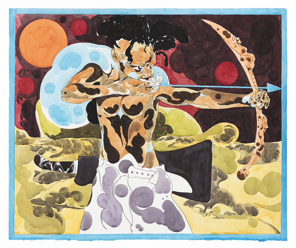 Richard Ayodeji Ikhide. <em>Piercing Thru</em>, 2021. Watercolor on paper, 48 7/8 x 59 1/2 inches (124.1 x 151.1 cm)