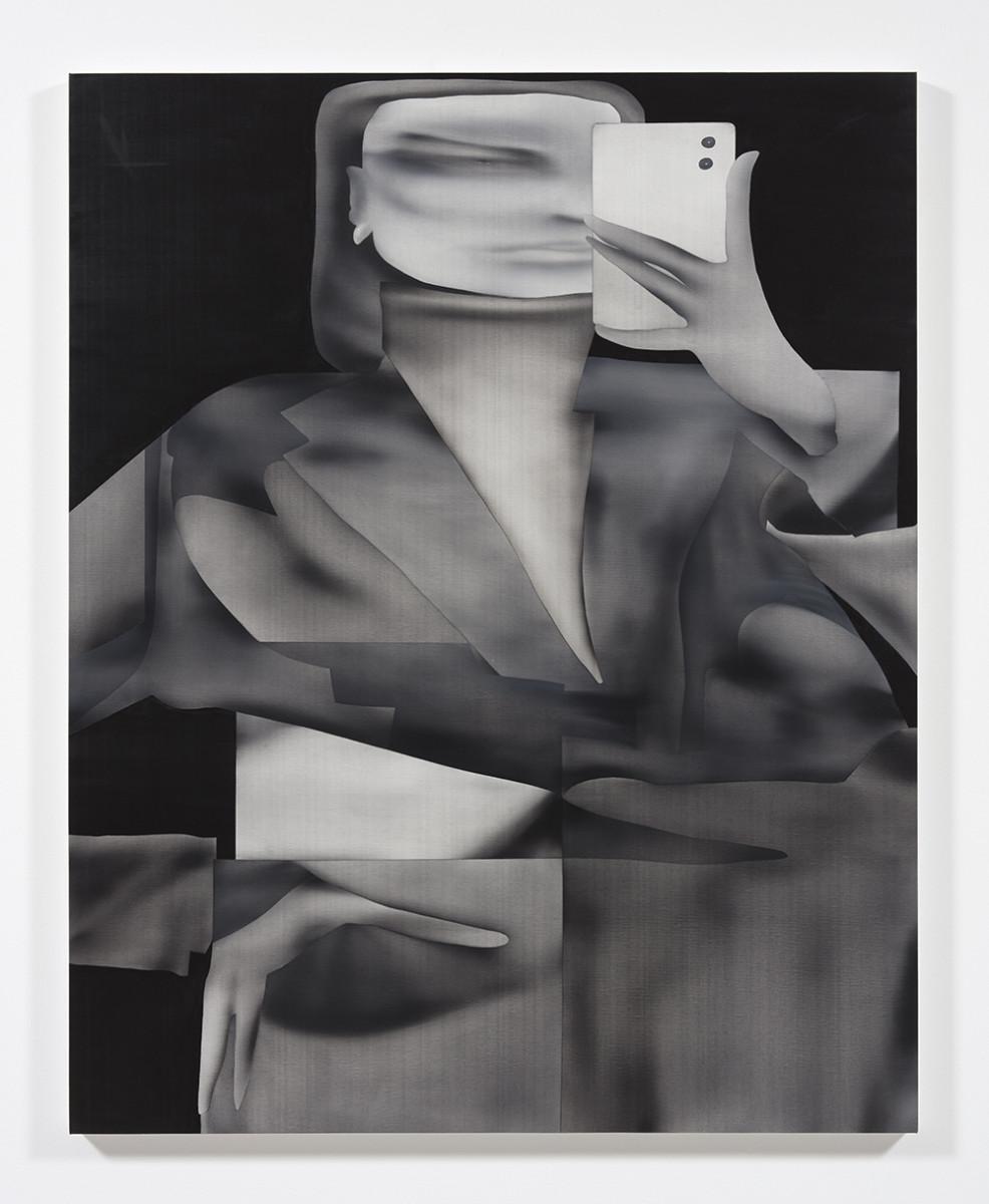 Jingze Du. <em>Mirror</em>, 2021. Oil on canvas, 59 1/2 x 47 1/4 inches (151.1 x 120 cm)