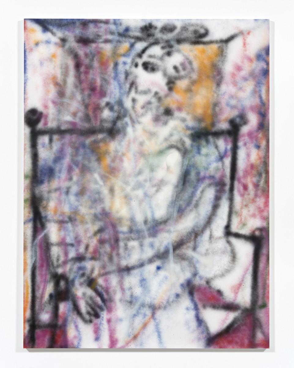 Jingze Du. <em>Sitting Figure</em>, 2021. Acrylic on canvas, 94 1/2 x 70 7/8 inches (240 x 180 cm)