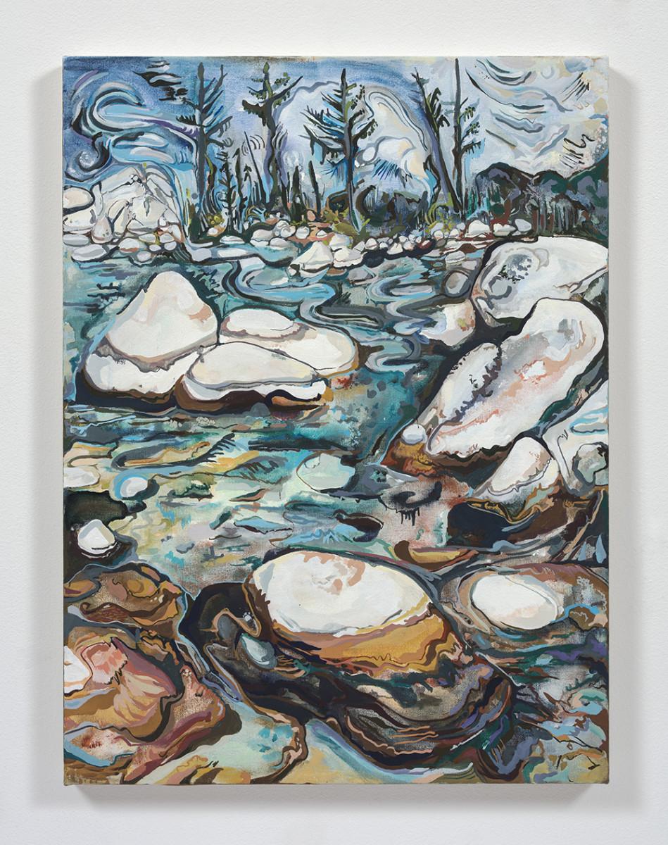 Maria Calandra. <em>Secret Cove</em>, 2021. Acrylic on canvas over panel, 24 x 18 inches (61 x 45.7 cm)