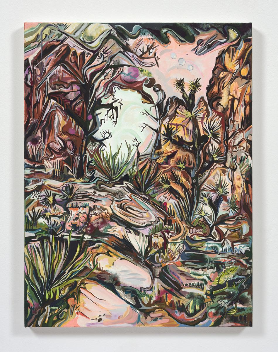 Maria Calandra. <em>Desert Walk</em>, 2021. Acrylic on canvas over panel, 24 x 18 inches (61 x 45.7 cm)