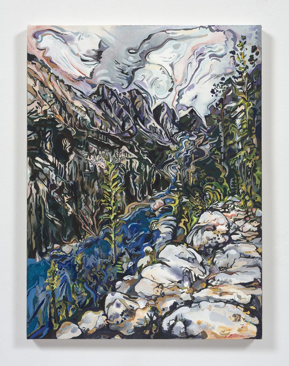 Maria Calandra. <em>Mack Lake (Sierra National Forest)</em>, 2021. Acrylic on canvas over panel, 24 x 18 inches (61 x 45.7 cm)