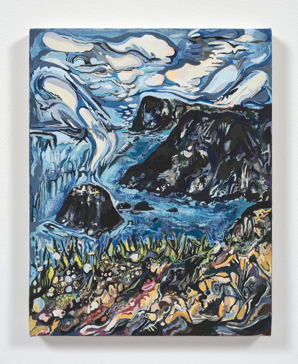 Maria Calandra. <em>Channel Islands</em>, 2021. Acrylic on canvas over panel, 14 x 11 inches (35.6 x 27.9 cm)