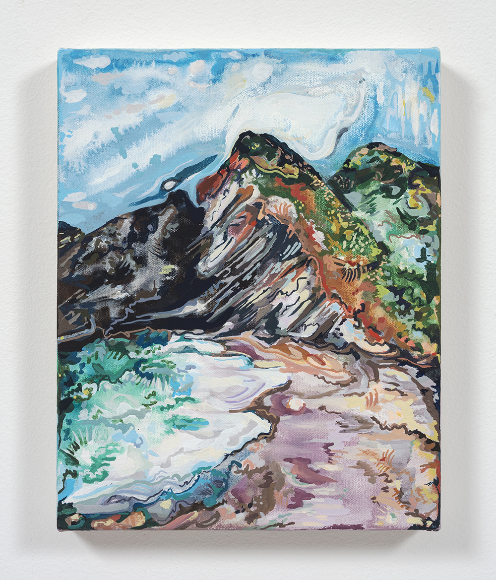 Maria Calandra. <em>Super Bloom on a Beach in Marin</em>, 2021. Acrylic on canvas over panel, 10 x 8 inches (25.4 x 20.3 cm)