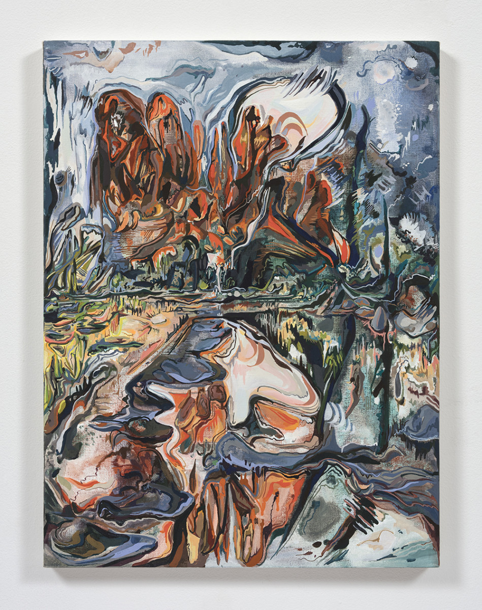 Maria Calandra. <em>Cathedral Rock</em>, 2021. Acrylic on canvas over panel, 24 x 18 inches (61 x 45.7 cm)