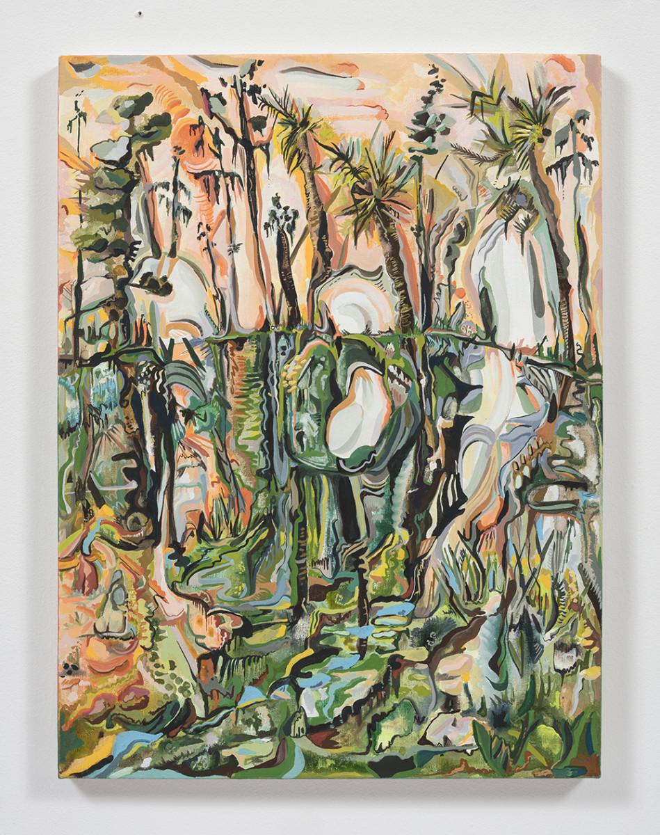 Maria Calandra. <em>Crystal Springs Preserve</em>, 2021. Acrylic on canvas over panel, 24 x 18 inches (61 x 45.7 cm)