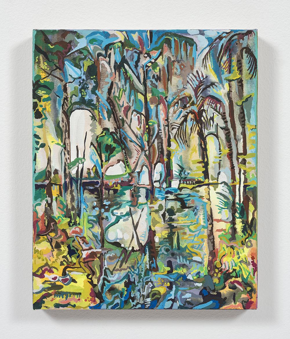Maria Calandra. <em>Crystal Springs II</em>, 2021. Acrylic on linen over panel, 10 x 8 inches (25.4 x 20.3 cm)