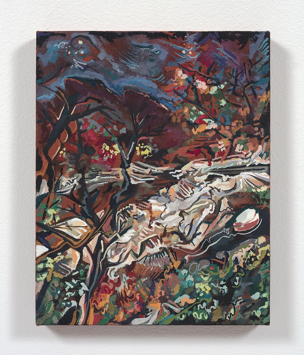 Maria Calandra. <em>Huckleberry Point (Catskills)</em>, 2021. Acrylic on canvas over panel, 10 x 8 inches (25.4 x 20.3 cm)