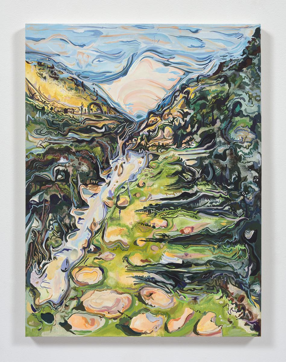 Maria Calandra. <em>Appian Way (Itri, Italy)</em>, 2021. Acrylic on canvas over panel, 24 x 18 inches (61 x 45.7 cm)