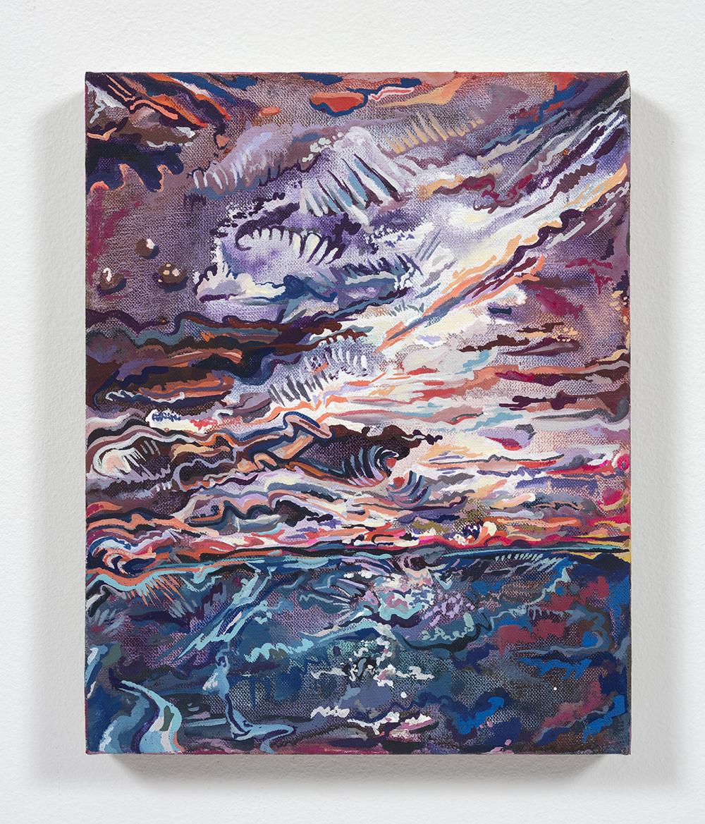 Maria Calandra. <em>Longboat Key at Sunset</em>, 2021. Acrylic on linen over panel, 10 x 8 inches (25.4 x 20.3 cm)