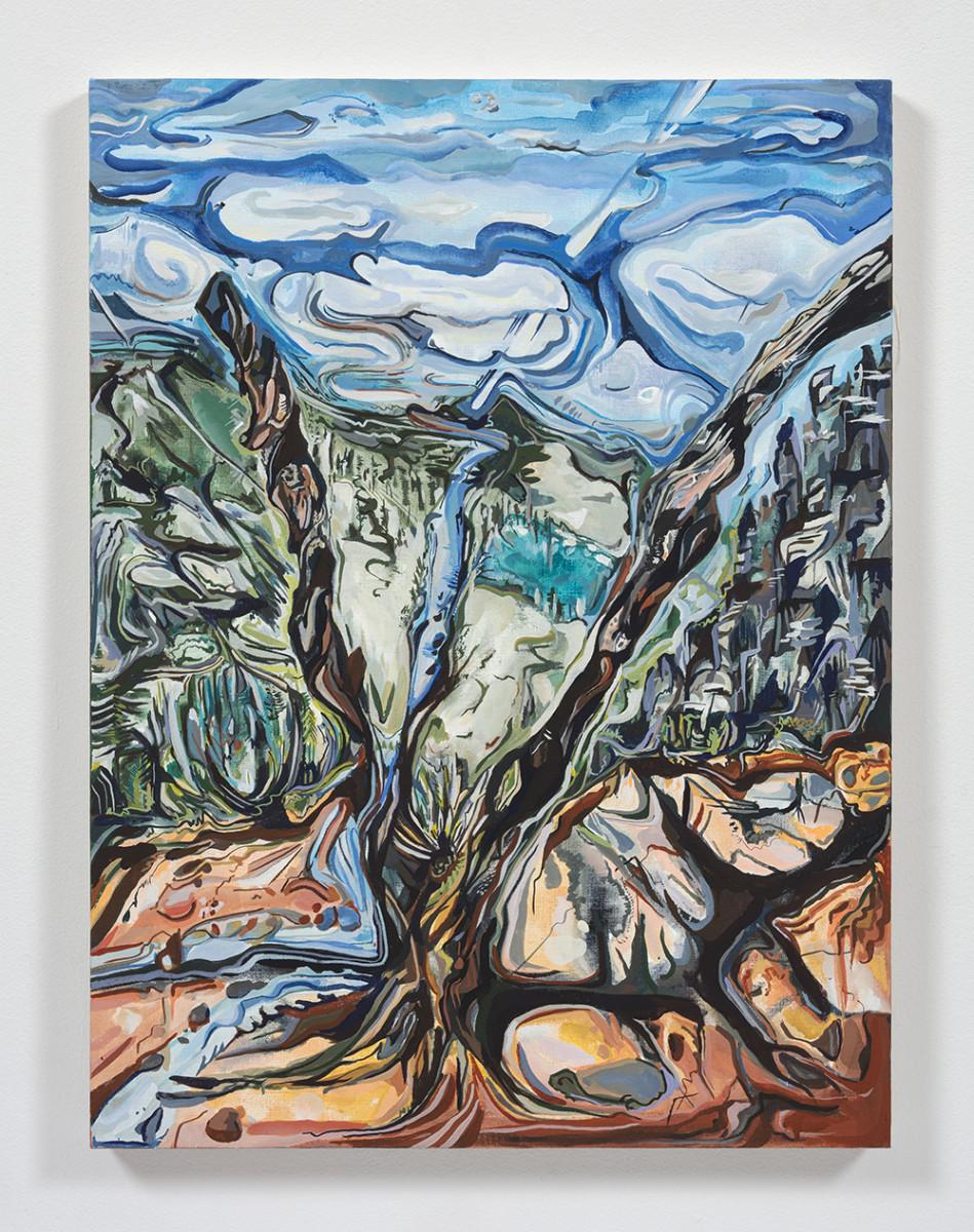 Maria Calandra. <em>Sierra Buttes – View Through a Dead Tree</em>, 2021. Acrylic on canvas over panel, 24 x 18 inches (61 x 45.7 cm)